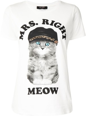 Twin-Set Mrs. Right Meow print T-shirt