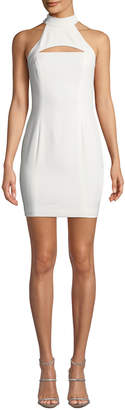 Jay Godfrey Halter-Neck Racerback Mini Dress w/ Chest Cutout