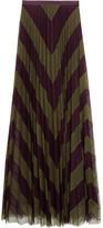 Mary Katrantzou Giselle Two-tone Pleated Silk-tulle Maxi Skirt - Green