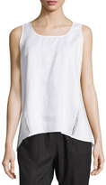 Neiman Marcus Linen Crochet-Trim High-Low Tank, White