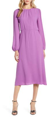 Halogen Long Sleeve Midi Dress