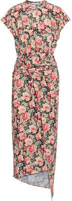 Paco Rabanne Ring-embellished Floral-print Satin-jersey Midi Dress