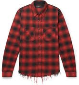 Amiri Distressed Checked Cotton-flannel Shirt - Red