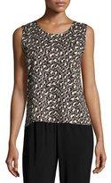 Caroline Rose Animal-Print Knit Tank, Multi Black, Plus Size