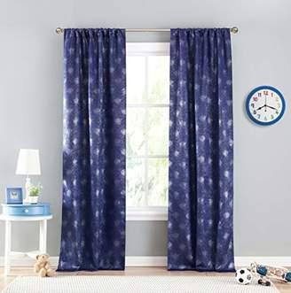 BA&SH LALA + BASH Metallic Blackout Darkening 2 Panels Window Curtain Set, Navy Blue, 37 x 96-Inch