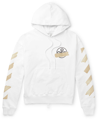 Off-White Logo-Print Fleece-Back Cotton-Jersey Hoodie