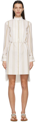 Chloé White Cotton Striped Dress