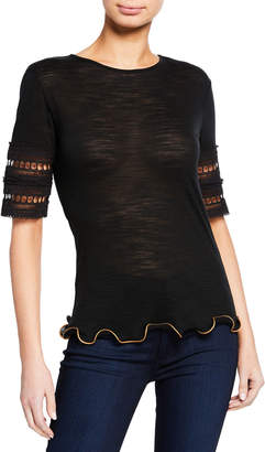 See by Chloe Embroidered Ruffle Crewneck Tee