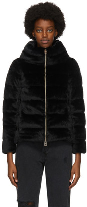 Herno Black Down Faux Fur Jacket