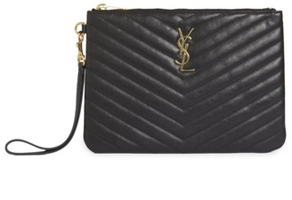 Saint Laurent Medium Monogram Matelasse Leather Wristlet