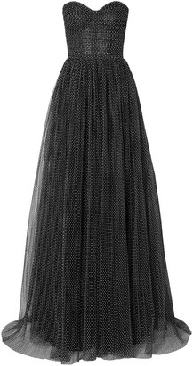 Monique Lhuillier Strapless Ruched Swiss-dot Tulle Gown