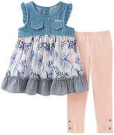 Calvin Klein 2-Pc. Denim & Poplin Tunic & Leggings Set, Toddler & Little Girls (2T-6X)
