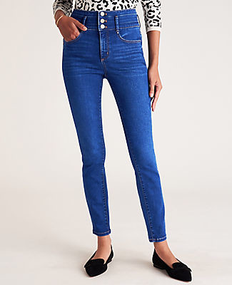 Ann Taylor Curvy Sculpting Pocket High Rise Skinny Jeans in Classic Mid Wash
