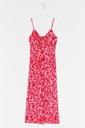 Nasty Gal Womens Just Growing With It Floral Midi Dress - Pink