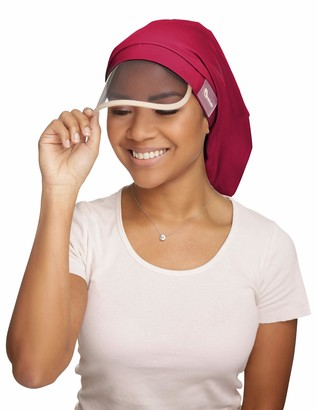 Hairbrella XL Womens Rain Hat Waterproof Sun Protection Satin-Lined Packable for Voluminous and Long Hair - red - XL