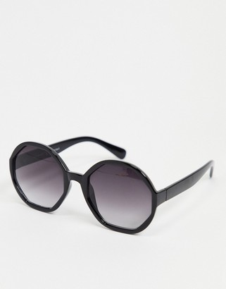 A. J. Morgan AJ Morgan hexagon sunglasses in black