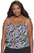 Plus Size A Shore Fit Tummy Slimming Mesh Blouson Tankini