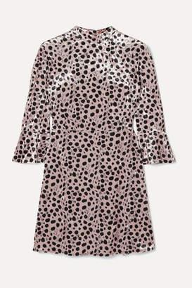HVN Ashley Leopard-print Velvet Mini Dress - Beige