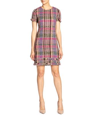 Santorelli Multicolored Tweed Shift Dress w/ Fringe Hem Detail