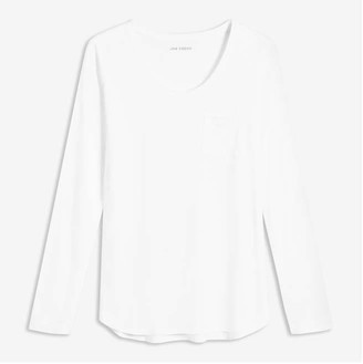 Joe Fresh Women's Long Sleeve Pocket Tee, White 1 (Size S)
