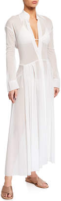 Norma Kamali Flared Long-Sleeve Coverup Shirt Dress