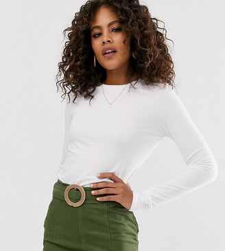 Asos Tall DESIGN Tall ultimate organic cotton long sleeve crew neck t-shirt in white
