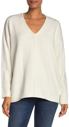 BCBGMAXAZRIA V-Neck Rolled Trim Sweater