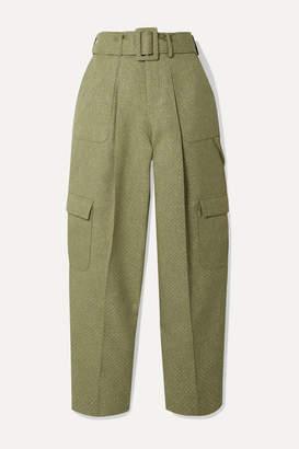 Rosie Assoulin Belted Glittered Canvas Wide-leg Pants - Sage green