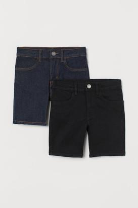 H&M 2-pack Slim Fit Denim Shorts - Black