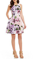Vince Camuto Sleeveless Rose Print Fit & Flare Dress