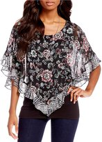 I.N. Studio Round Neck Floral Scroll Print Popover Top