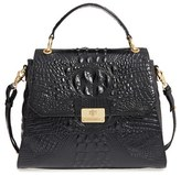 Brahmin 'Melbourne Brinley' Croc Embossed Leather Top Handle Satchel - Black