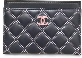 Chanel Card Holder Quilted Leather White Stitching Navy Pink