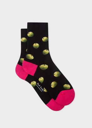 Paul Smith Women's Black 'Green Apple' Socks