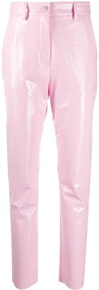MSGM Faux-Leather High-Shine Trousers