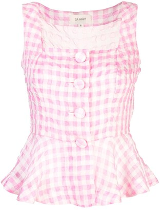 Isa Arfen sleeveless checked blouse