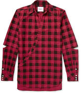 TAKAHIROMIYASHITA TheSoloist. - Cutout Checked Cotton-flannel Shirt - Red