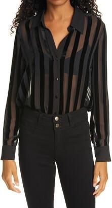 L'Agence Hailie Velvet Stripe Sheer Blouse