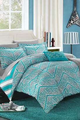 Full Aloretta Chevron and Geometric printed Reversible Comforter 10-Piece Set - Aqua