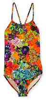 Milly Minis Cross-Back Floral One-Piece Swimsuit, Multicolor, Size 4-7