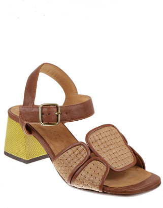 Chie Mihara Orela Mixed Leather Block-Heel Sandals