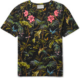 Gucci Slim-Fit Appliquéd Tropical-Print Linen-Jersey T-Shirt