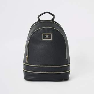 River Island Black zip backpack