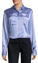 Alexander Wang Menswear-Print Long-Sleeve Collared Silk Shirt