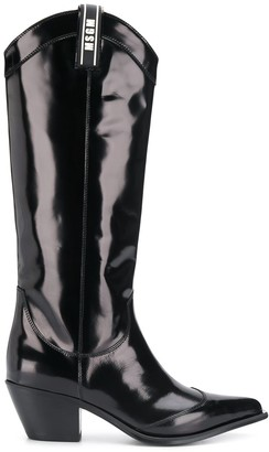 MSGM Patent Knee High Boots