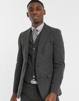 Asos Design DESIGN wedding super skinny suit jacket in wool mix herringbone in charcoal
