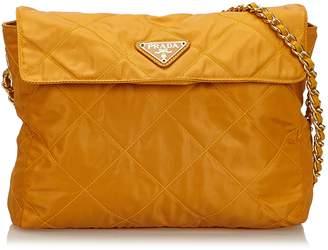 Prada Orange Quilted Nylon Chain Shoulder Bag