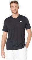 Nike NikeCourt Dry Challenger Top Short Sleeve (Black/White) Men's Clothing