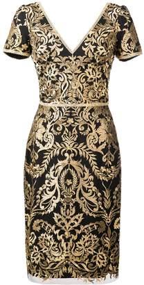 Marchesa baroque print mini dress