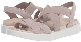 Ecco Flowt Elastic Sandal (Black Patent) Women's Shoes
